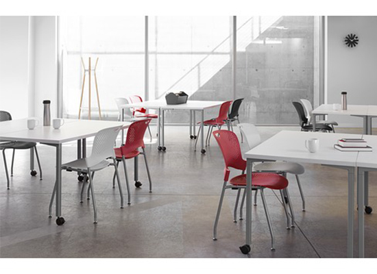 Herman Miller Caper Stacking Chair & Everywhere Tables
