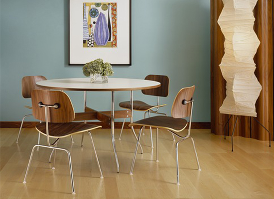 Herman Miller Nels Swag Leg Table & Eames Molded Plywood Chairs